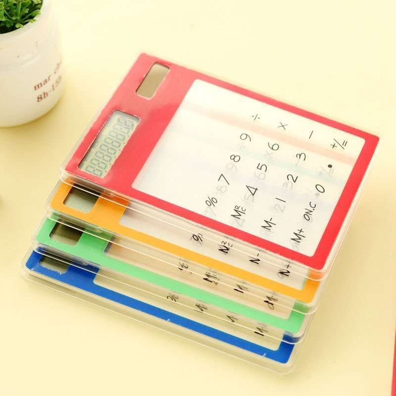 Transparent Calculator Ultra LCD Slim Solar Touch Screen 8 Digit Electronic-1