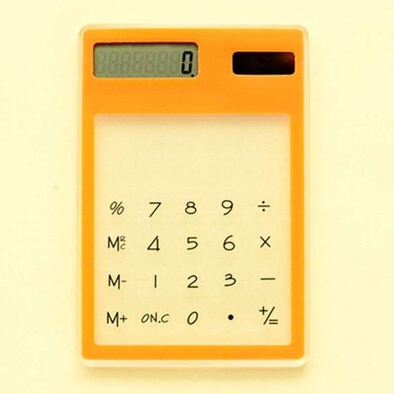 Transparent Calculator Ultra LCD Slim Solar Touch Screen 8 Digit Electronic-10