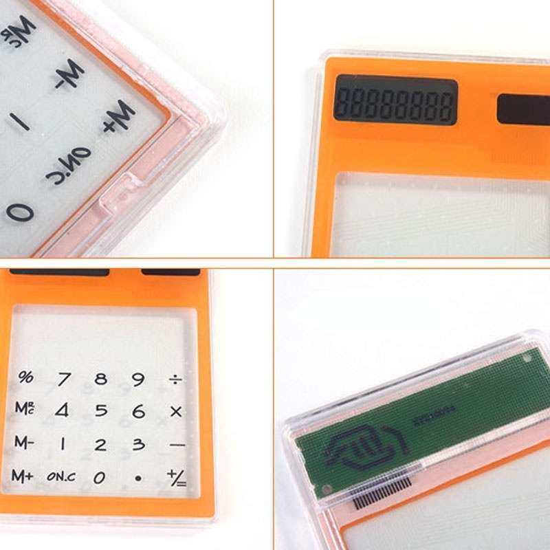 Transparent Calculator Ultra LCD Slim Solar Touch Screen 8 Digit Electronic-3