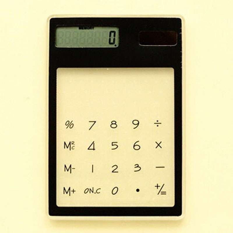 Transparent Calculator Ultra LCD Slim Solar Touch Screen 8 Digit Electronic-4