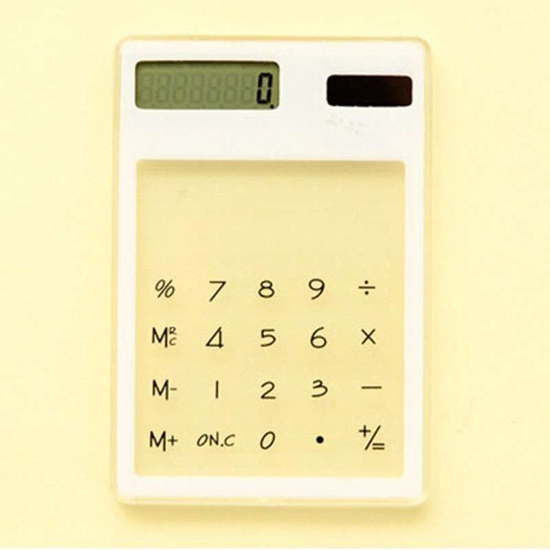 Transparent Calculator Ultra LCD Slim Solar Touch Screen 8 Digit Electronic-9
