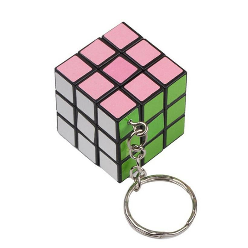 Fashion Magic Cube Rubics Game Cube Puzzle Toy Keychain Keyring Key Chain 3CM