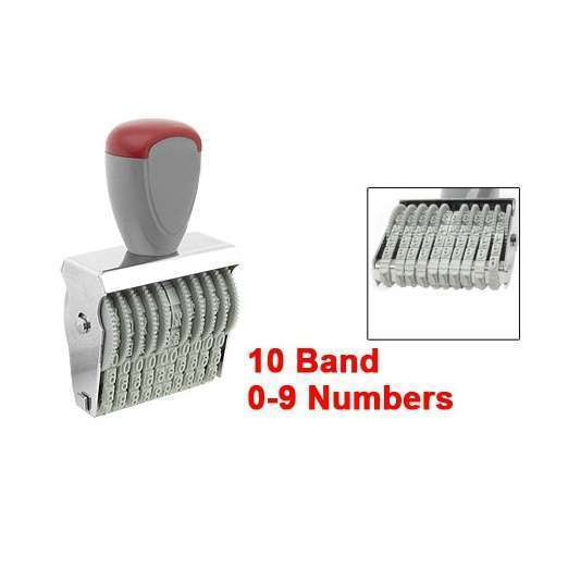 Office 10 Band 5mm x 3mm Rubber 0-9 Numbers Numbering Stamp Gray Red (Color: Grey)-1