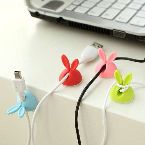 4 PCS Rabbit Ears Cable Drop Clip Desk Organizer Wire Cord Lead USB Charger Holder
