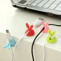 OwW0-4 PCS Rabbit Ears Cable Drop Clip Desk Organizer Wire Cord Lead USB Charger Holder