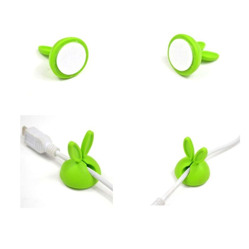 4 PCS Rabbit Ears Cable Drop Clip Desk Organizer Wire Cord Lead USB Charger Holder-10