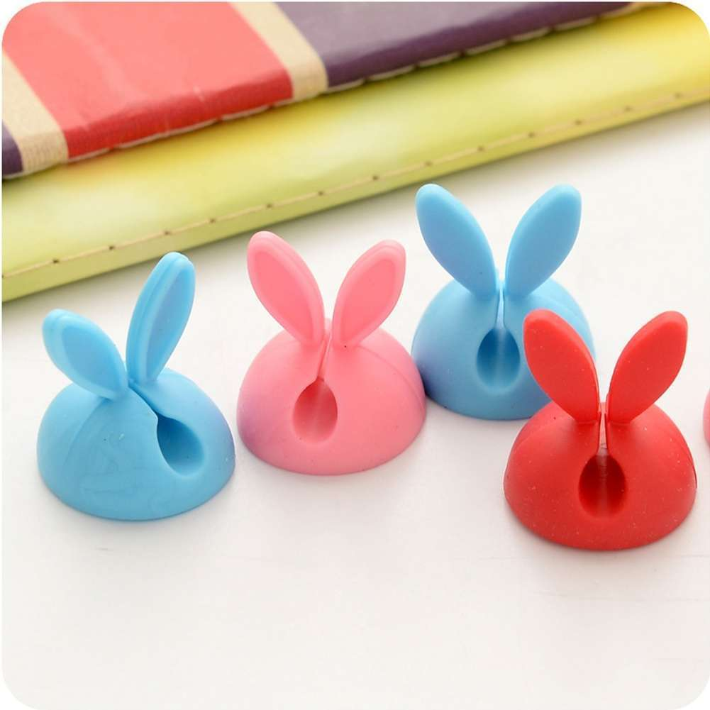 4 PCS Rabbit Ears Cable Drop Clip Desk Organizer Wire Cord Lead USB Charger Holder-2