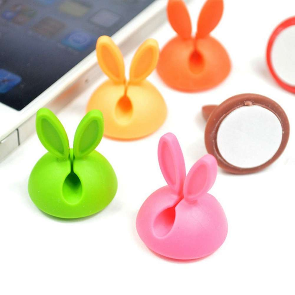 4 PCS Rabbit Ears Cable Drop Clip Desk Organizer Wire Cord Lead USB Charger Holder-4
