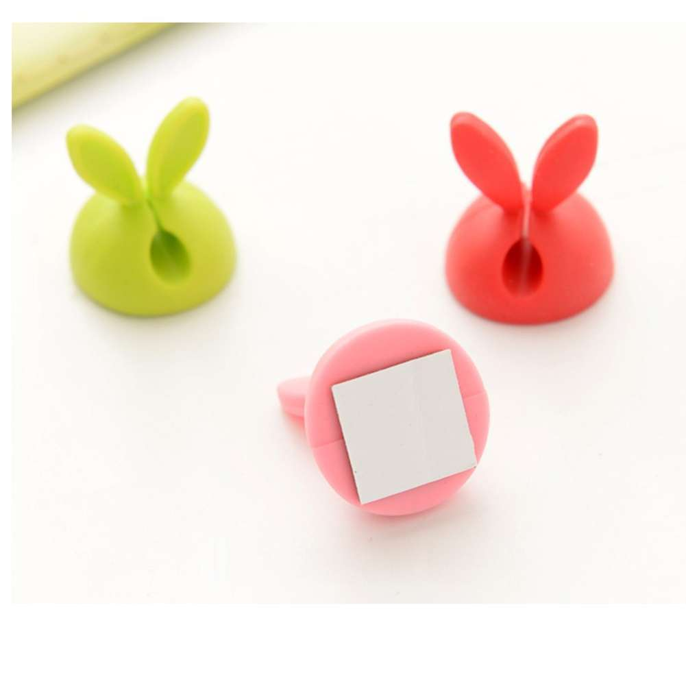4 PCS Rabbit Ears Cable Drop Clip Desk Organizer Wire Cord Lead USB Charger Holder-5