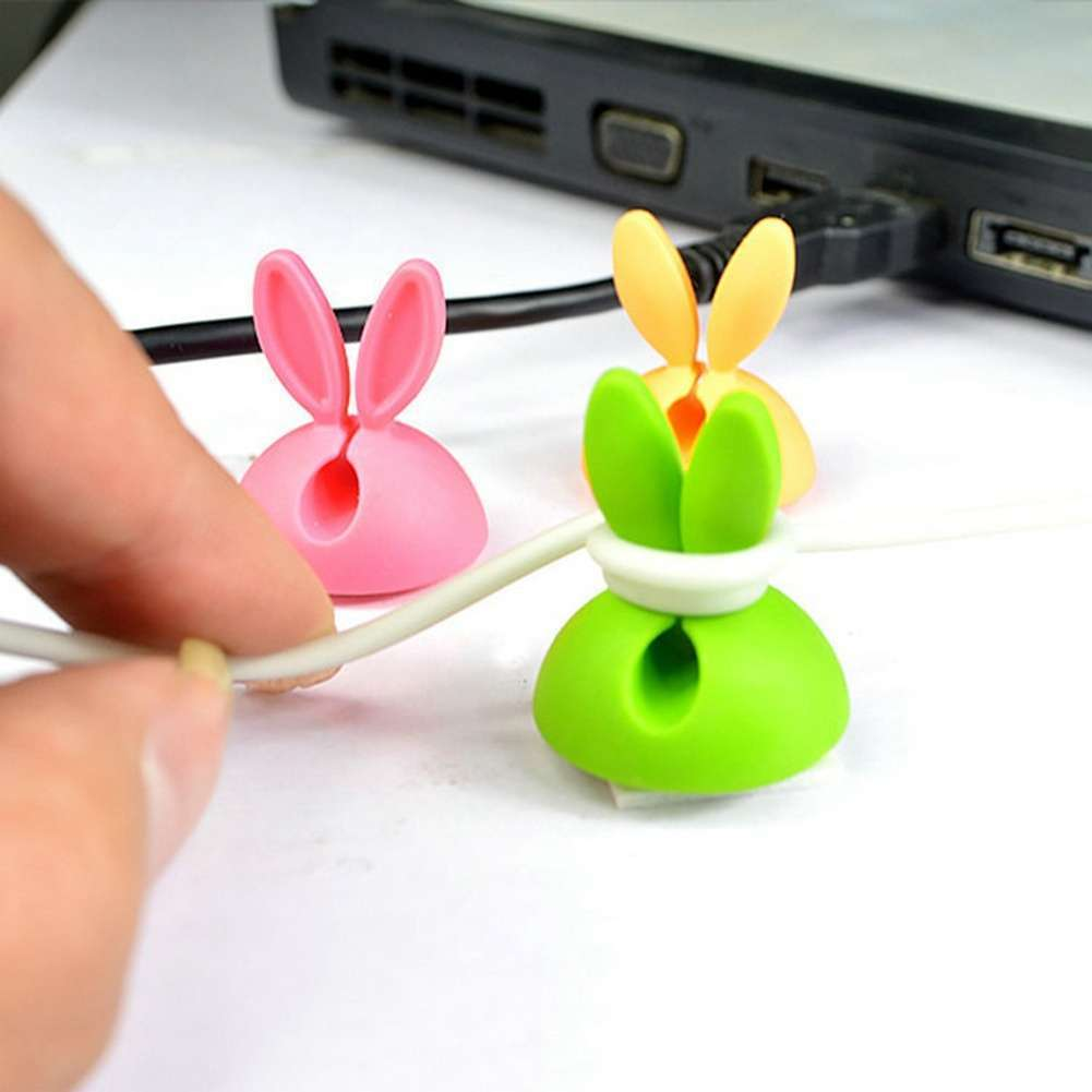 4 PCS Rabbit Ears Cable Drop Clip Desk Organizer Wire Cord Lead USB Charger Holder-6