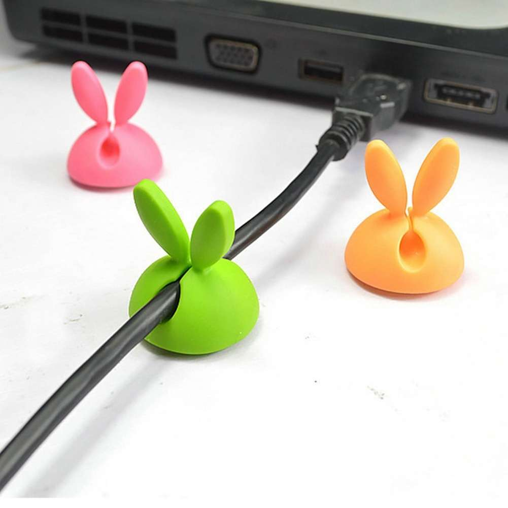 4 PCS Rabbit Ears Cable Drop Clip Desk Organizer Wire Cord Lead USB Charger Holder-7
