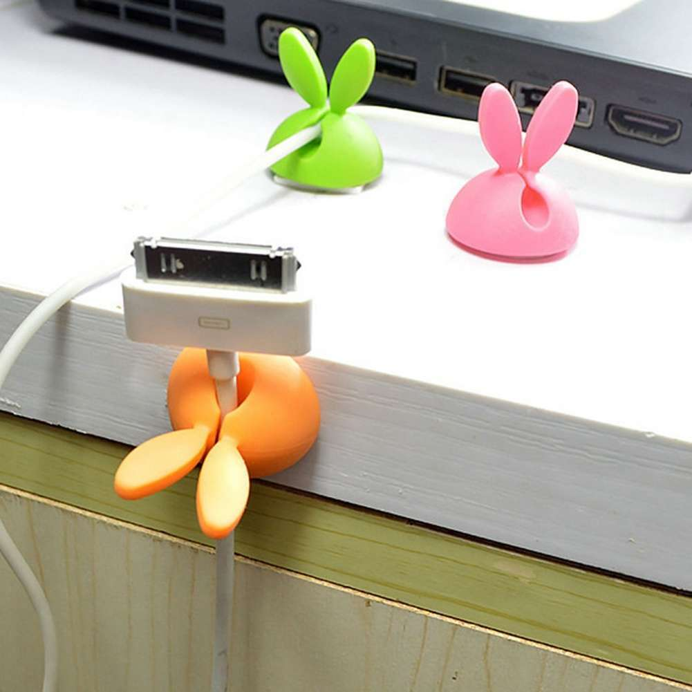 4 PCS Rabbit Ears Cable Drop Clip Desk Organizer Wire Cord Lead USB Charger Holder-8