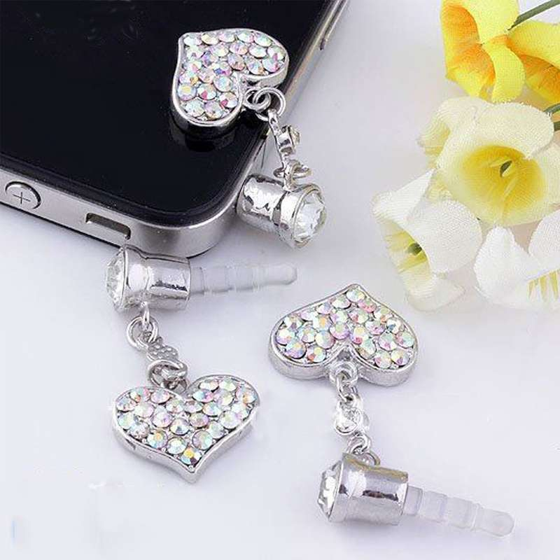 Universal 3.5mm Crystal Heart Dangle Anti Dust Earphone Jack Plug Stopper for IPhone4 4s 5 iPod  iPad HTC Samsung