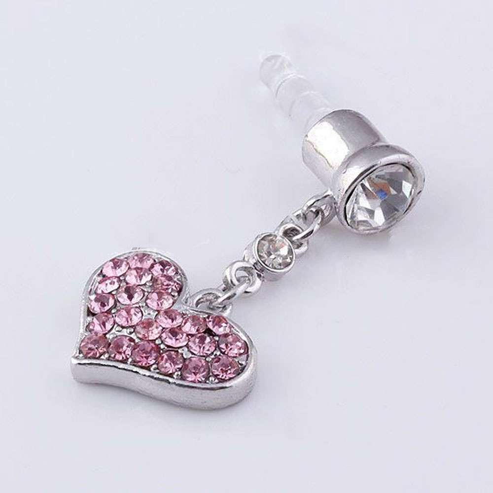 Universal 3.5mm Crystal Heart Dangle Anti Dust Earphone Jack Plug Stopper for IPhone4 4s 5 iPod  iPad HTC Samsung-1