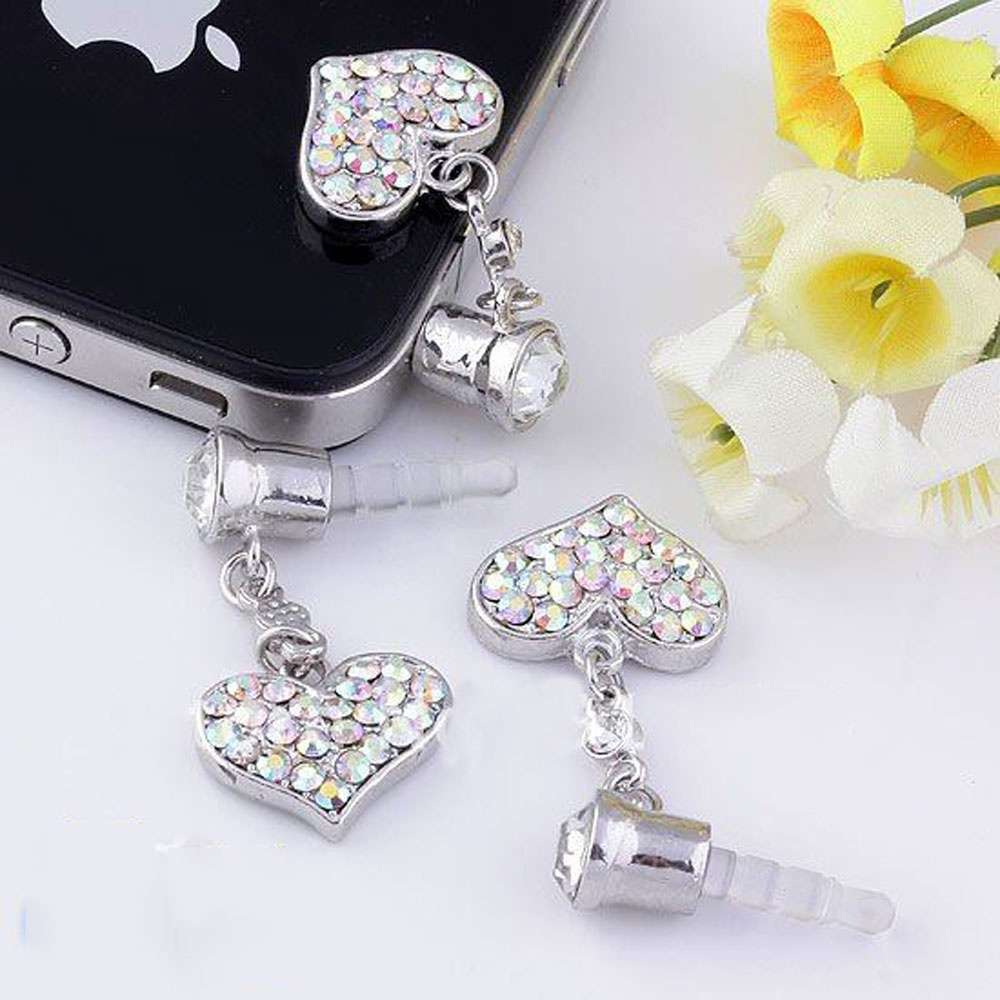 Universal 3.5mm Crystal Heart Dangle Anti Dust Earphone Jack Plug Stopper for IPhone4 4s 5 iPod  iPad HTC Samsung-2
