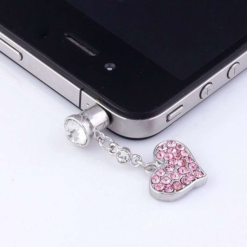 Universal 3.5mm Crystal Heart Dangle Anti Dust Earphone Jack Plug Stopper for IPhone4 4s 5 iPod  iPad HTC Samsung-3