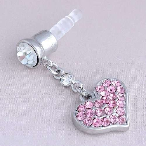 Universal 3.5mm Crystal Heart Dangle Anti Dust Earphone Jack Plug Stopper for IPhone4 4s 5 iPod  iPad HTC Samsung-5