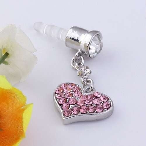 Universal 3.5mm Crystal Heart Dangle Anti Dust Earphone Jack Plug Stopper for IPhone4 4s 5 iPod  iPad HTC Samsung-6