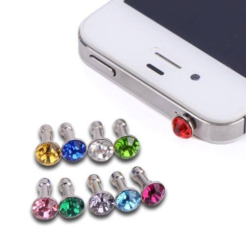 10x Fashion Sparkling Diamond Dust proof Plug Earphone Stopple Decor Ornament Bling Anti Dust 3.5mm Earphone Jack Plug Stopper-1