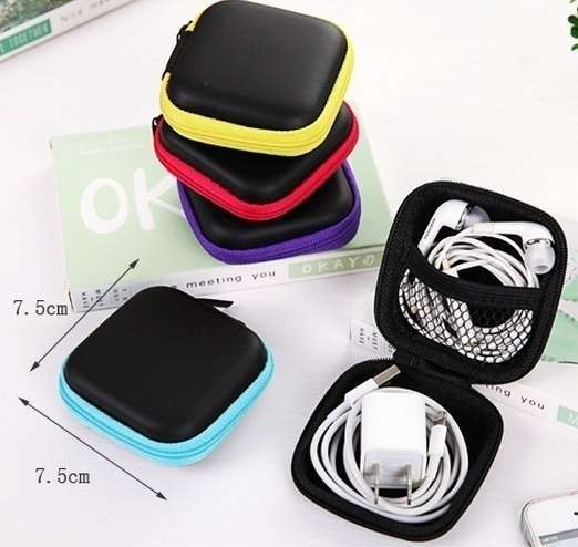 Square Shape Headsets Receive Package PU Zipper Bag Package Headsets Bag-10