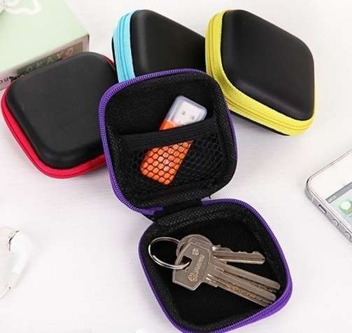 Square Shape Headsets Receive Package PU Zipper Bag Package Headsets Bag-8