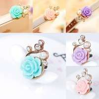 PVb8-New Cute Rose Flower Pearl Pattern Earphone Plug Anti Dust Cap For Cell Phone
