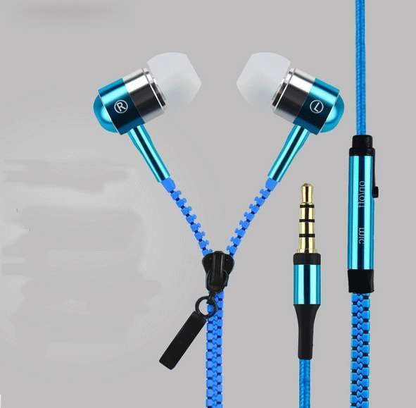 Zipper Bass Headphones With Microphone 3.5mm Jack for Mobile Phones and Tablet