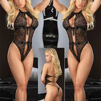 S3JZ-Women Sexy Teddy Lingerie Lace Hollow Out Bodysuit Sexy Nightwear One Size