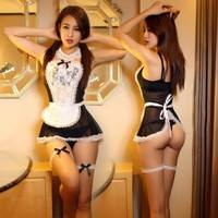 Sc6d-Sexy Sheer Lace Costume Cosplay French Maid Sexy Lingerie Outfit Fancy Dress
