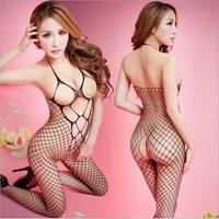 SghD-Strapless Sex Fishnet Body Stocking Female Erotic Body Suit Costumes Sexy Lingerie Women Underwear