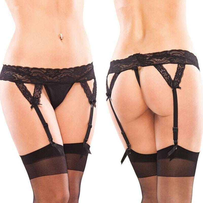 Sexy Lace Suspender Garter Belt Matching G string Thong Hold With Stocking
