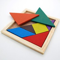 T33I-Wooden Puzzle Tangram Baby Kid IQ Brain Teaser Intelligent Game Toy
