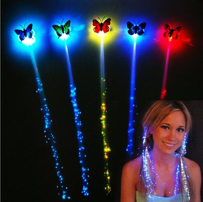 Kids Girls Colorful LED Light Fiber Flash Braids Hair Clip Butterfly Children Toys Night Party