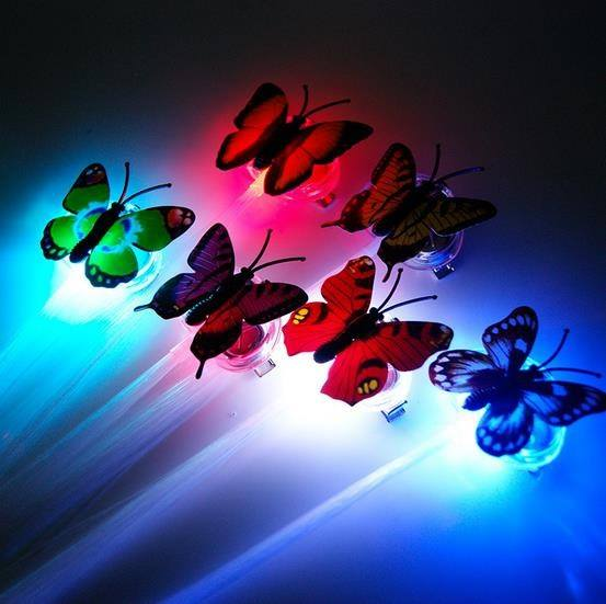 Kids Girls Colorful LED Light Fiber Flash Braids Hair Clip Butterfly Children Toys Night Party-1