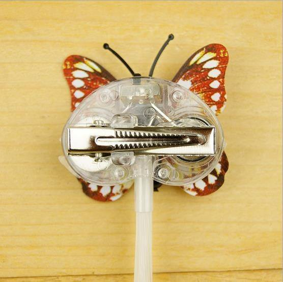 Kids Girls Colorful LED Light Fiber Flash Braids Hair Clip Butterfly Children Toys Night Party-2