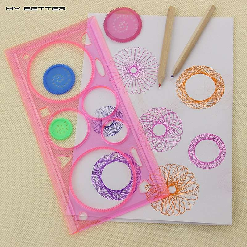 Spirograph Geometric Ruler Drafting Tools Stationery Students Drawing Set Learning Art-4