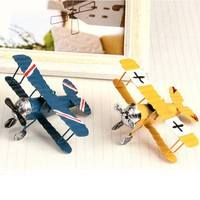 TPf0-Vintage Alloy Metal Airplane Model Crafts Aircraft Toy Blue Home Decor