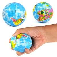 TRXr-World Map Foam Earth Globe Stress Relief Bouncy Ball Atlas Geography Toy