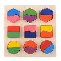TT3K-Wood Geometry Block Puzzle Early Learning Kid Educational Preschool Toy Kids