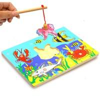TcRr-Magnetic Fishing Game And 3D Jigsaw Puzzle Board Educational Wooden Toy For Kids