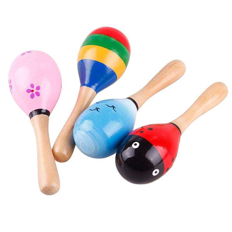 Wooden Maraca Wood Rattles Kid Musical Party Favor Child Baby Shaker Toy