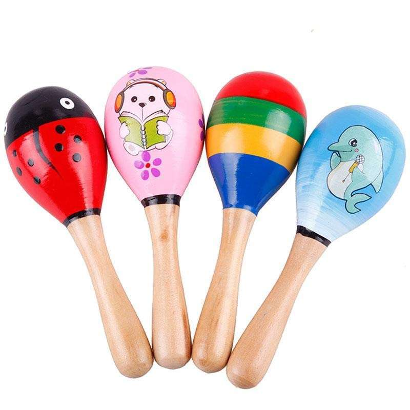 Wooden Maraca Wood Rattles Kid Musical Party Favor Child Baby Shaker Toy-3
