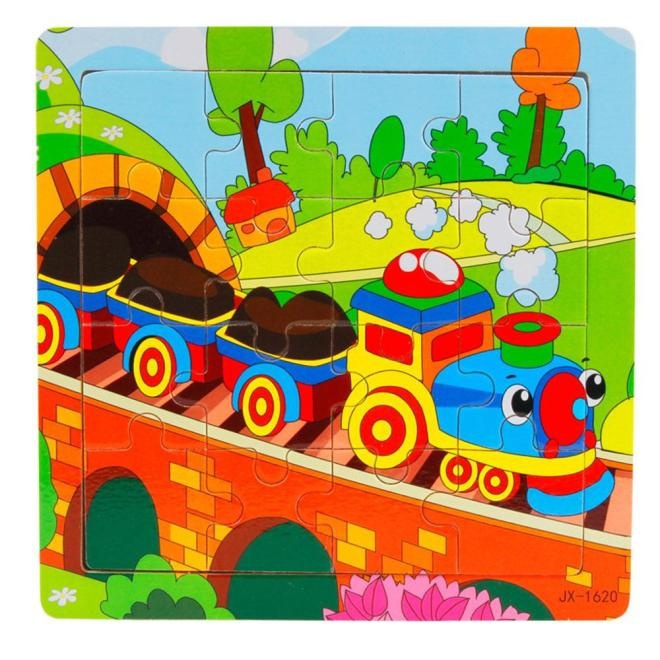 Wooden Kids 16 Piece Train Jigsaw Toys Children Education And Learning Puzzles Toys