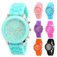 W2Rn-Unisex Women Men Boys Girls Geneva Silicone Jelly Sports Quartz Wrist Watch