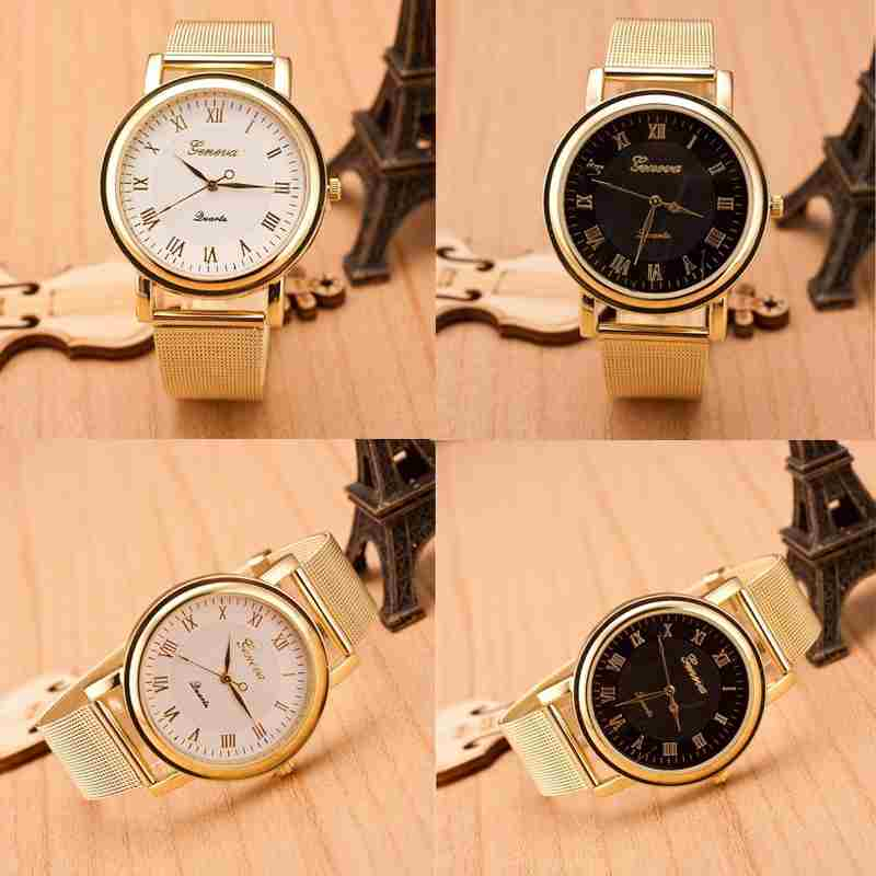 Fashion Gold Classic Womens Geneva Quartz Stainless Steel Wrist Watch