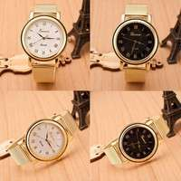 W3FJ-Fashion Gold Classic Womens Geneva Quartz Stainless Steel Wrist Watch