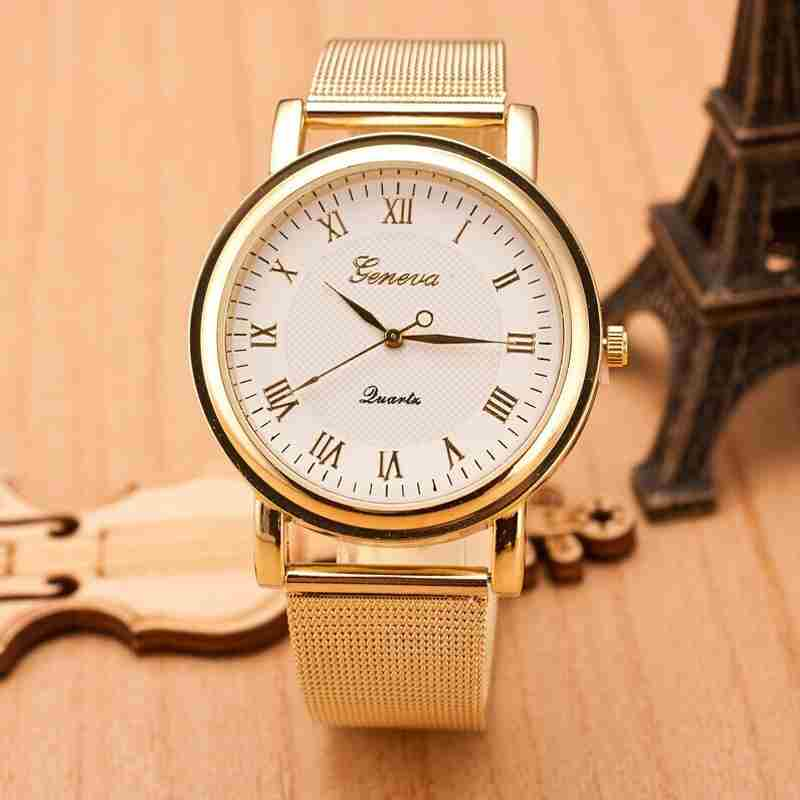 Fashion Gold Classic Womens Geneva Quartz Stainless Steel Wrist Watch-1