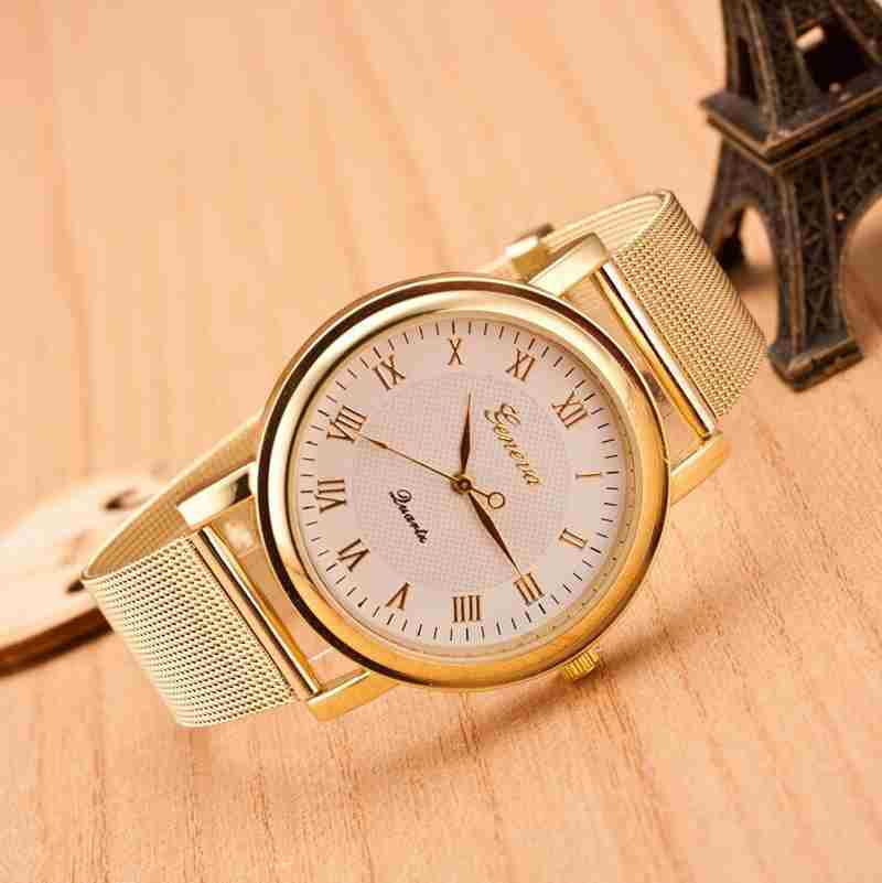 Fashion Gold Classic Womens Geneva Quartz Stainless Steel Wrist Watch-2