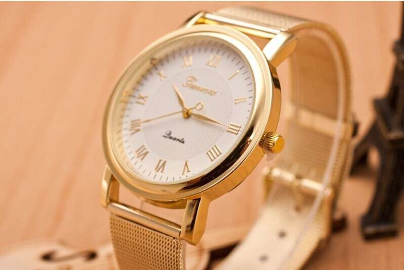 Fashion Gold Classic Womens Geneva Quartz Stainless Steel Wrist Watch-3