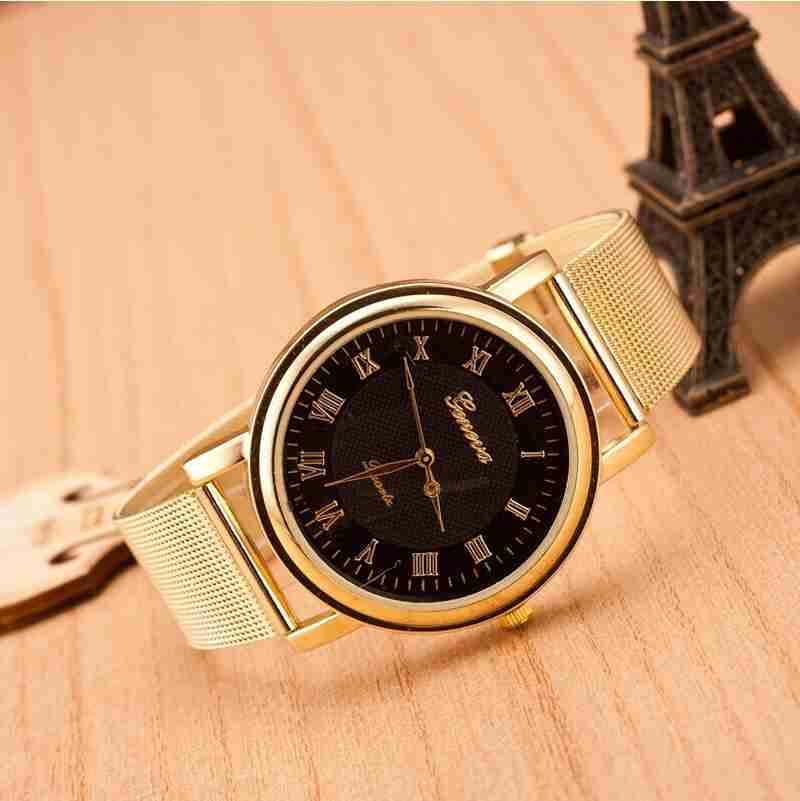 Fashion Gold Classic Womens Geneva Quartz Stainless Steel Wrist Watch-5